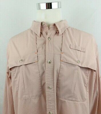 Orvis Trout Bum Mens Button Front Long Roll Up Sleeves Shirt Sz XL
