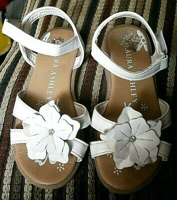 Girls Kids Laura Ashley White Flower Leather Sandal Shoes  Uk Size 11  Euro 29