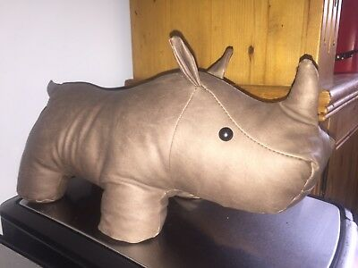NEXT, Rhinoceros Door Stop, RON, Faux Leather, 100% Polyester, New Without Tags