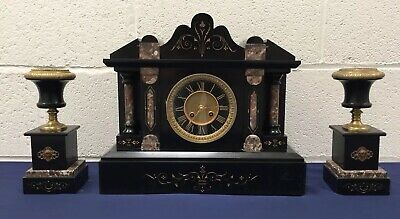 Antique 19th Century French Slate And Marble Mantle Clock And Garnitures