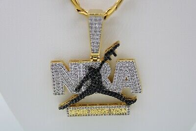 """Never Broke Again Pendant with 26"""" Necklace 14K Gold Finish NBA"""