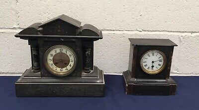Two Antique French Slate And Marble Mantle Clocks Spares Or Repairs
