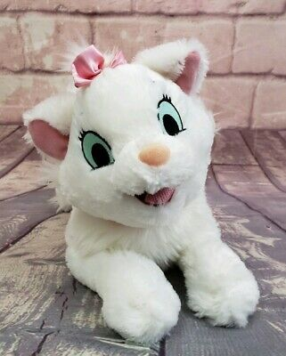 "Disney Parks Marie 15"" Plush Stuffed Aristocats White Cat  Pink Bow"