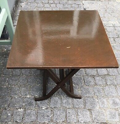 Low Square Folding Dark Wood Card/Coffee / Occasional Table Vintage/Antique