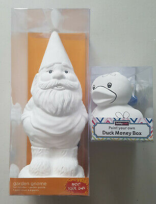 Paint your own Gnome Statue and Duck Money box both new sealed.