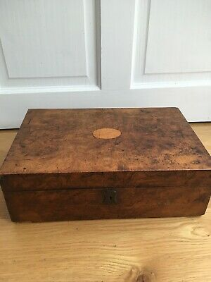 Antique Walnut Wooden Sewing Work Box Casket Victorian  & Vintage Sylko Reels