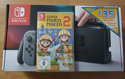 Nintendo Switch Grau + Super Mario Maker 2 + 35€ e-Shop Guthaben - NEU