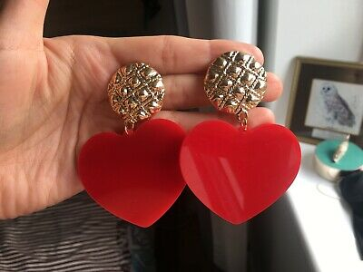 Cute Tatty Devine style heart shaped earrings acrylic plastic boho