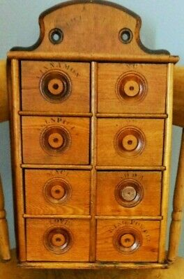 Antique Oak 8 Drawer Stenciled Spice Cabinet/Box/Cupboard-Apothecary-AAFA