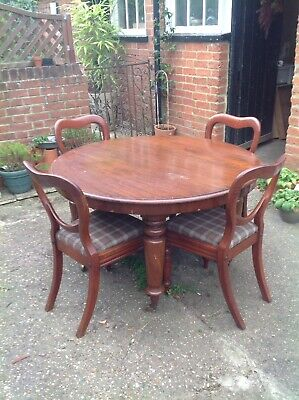 Victorian Mahogany Campaign Table and Original Chairs