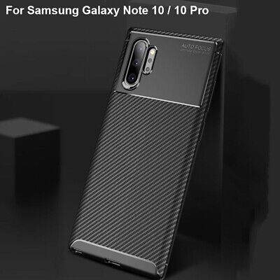 For Samsung Galaxy Note 10 + Case Plus Carbon Fiber Rubber Slim Shockproof Cover