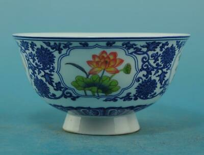 Chinese old Blue and White porcelain flower pattern bowl /qianlong mark b01