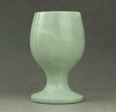 Chinese hand carved Natura Jade Beautiful wine Cup a01