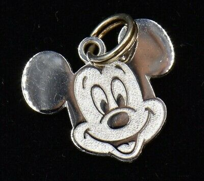 Disney Mickey Mouse Head Sterling Silver Charm 925 Etched Flat Disneyland