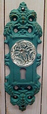 VINTAGE STYLE CAST IRON DOOR PLATE with ACRYLIC/GLASS KNOB,  ANTIQUE BLUE/GREY