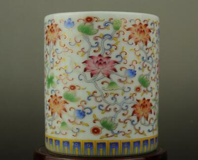 Chinese old hand-made famille rose porcelain Hand painted flower brush pot b02
