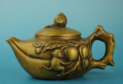 china copper Hand Made statue monkey and peach antique teapot /daming mark d02