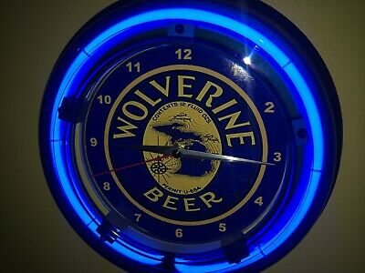 Wolverine Michigan Beer Bar Man Cave Advertising Blue Neon Wall Clock Sign