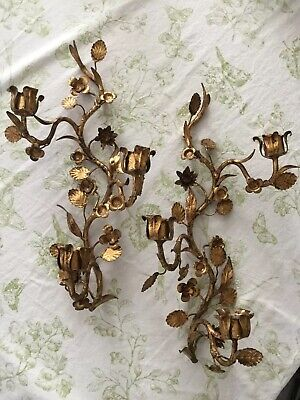 """Pair of Vintage Italian Gold Gilt Tole Leaves Flower Candle Wall Sconces 18"""""""