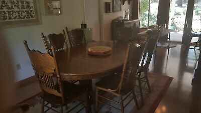 """Antique - Oak 47"""" Round Pedestal Dining Table, leaves and Chairs"""