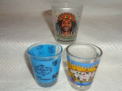 Jamaica--3 Shot Glasses--Head--West Indies--Country--Used A Few Times--L@@K