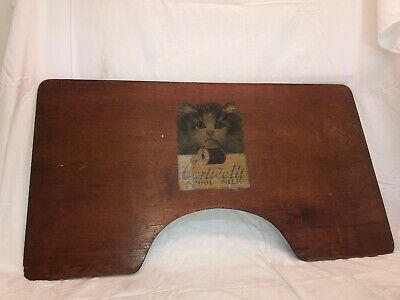 Vintage Corticelli Spool Silk Advertising Cat Double-Sided Wood Desk Rare