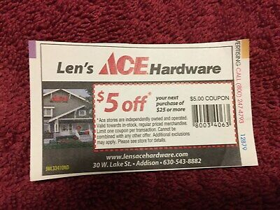 3 COUPONS FOR Ace Hardware | Two $5 off $25 | One $10 off