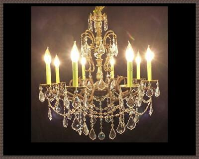 Vintage Antique Brass Bronze Chandelier Superb Crystals 8 Light Stunning 26x26