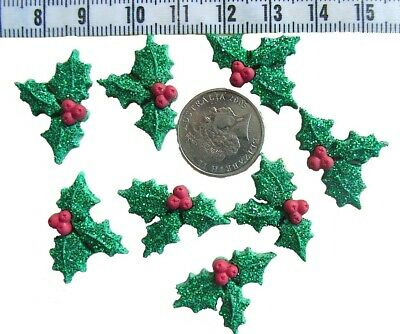 Novelty Buttons Flat Back Glue On  Christmas Embellishments Holly # 80