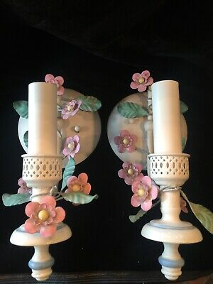 Antique Italian Tole Toleware Metal Flower Wall Sconce (2) Lamps