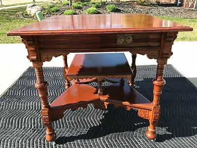 Mid 1800's Victorian Mahogany Multi-Tier 4 drawer (1 locking drawer) Card Table