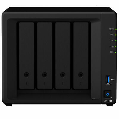 4 Bay NAS Synology DS918+ Intel Quad Core 1.5GHz 4GB RAM Home Network Storage