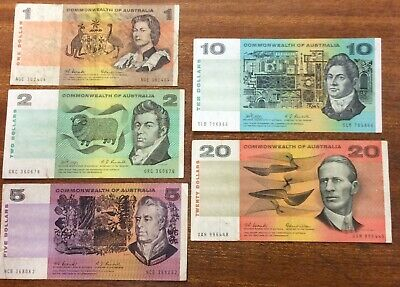 Commonwealth Australian $1, $2, $5, $10 ,$20 notes average circulated condition.
