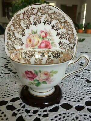 Royal Albert Gold Flower Lace Chintz Trim Giant Cabbage Rose Tea Cup and Saucer