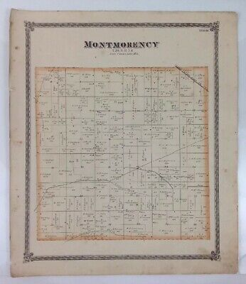 Antique 1874 Map of Montmorency County Illinois - Published by Warner & Beers