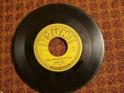 "Sun Records Vintage 45 Rpm Record ""guess Things Happen That Way""  By Johnny Cash"