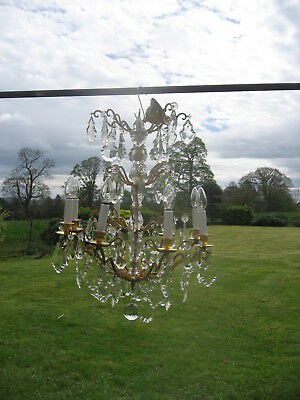 French Brass & Crystal 8 Branch Chandelier Lead Crystal  Drops  /4037