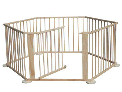 Child Baby Kid Wooden Playpen Play Pen Yard Fence Room Divider 6 Panels Sided UK