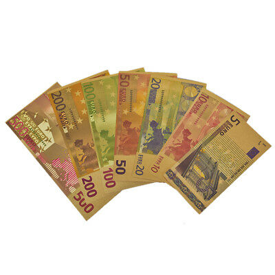 1 Set Euro Banknote Gold Foil Paper Money Crafts Collection Bank Note Currenc AU