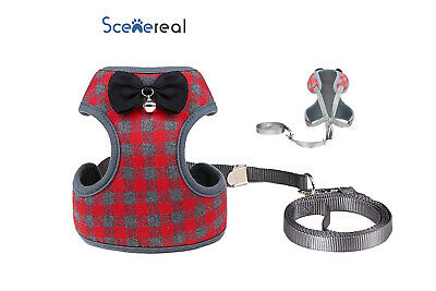 Pet Control SMALL Dog Harness Soft,Leash Christmas Cute Adjustable,Red Plaid S