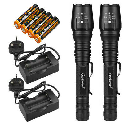 Zoomable 900000LM T6 LED Rechargeable Police Torch Flashlight Aluminum Light UK