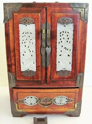 ANTIQUE Chinese WOOD, BRONZE & JADE INSERTS JEWELRY BOX Hand Made.. Stunning..