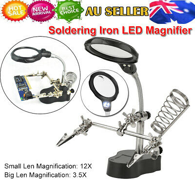 LED Helping Hand Clamp Magnifying Glass 3 Hand Soldering Iron Stand Magnifier AU