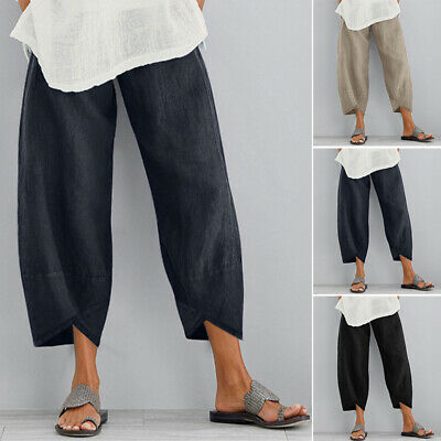 ZANZEA 8-24 Women Summer Casual Loose Pants Capris Cropped Pull-On Trousers HOT