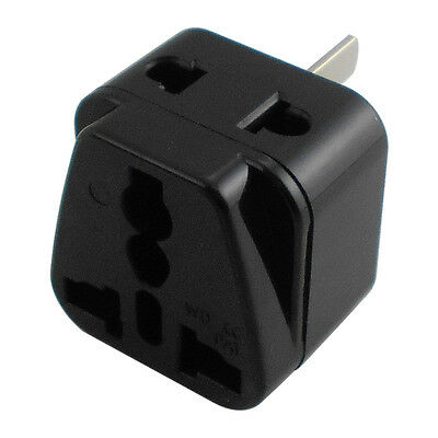 2in1 Converter Travel Adapter UK EU US to AU Australia Power 3 Prong Plug Black