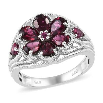 925 Sterling Silver Rhodolite Garnet Flower Ring Jewelry for Women Size 7 Ct 3.6