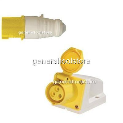 16 Amp 16 A  110 Volt Yellow Plug + Surface Socket Weather Proof Site Use