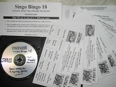 TV Themes Music Bingo Game 18 = 50 Paper Cards NO Printing Needed.