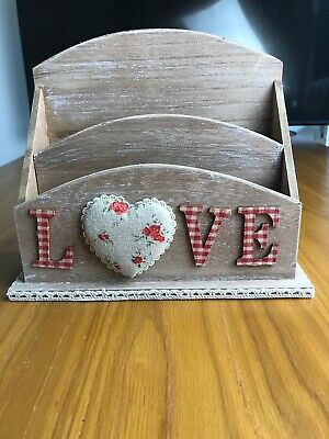 Wooden Rustic Letter Rack With Love Heart - New