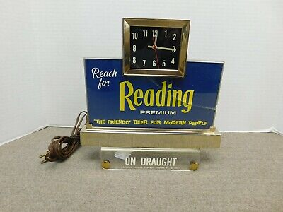 Vintage Reading Premium Beer Sign With Clock & Light
